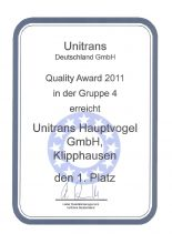 unitrans Hauptvogel Quality Award 2011
